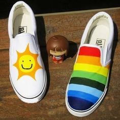 $11.48 new hand-painted rainbow canvas graffiti shoes - http://zzkko.com/book/shopping?note=10198