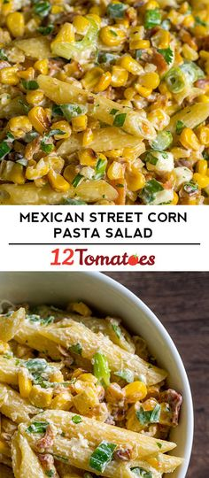 Mexican Street Corn Pasta Salad Perfect summer side dish for your next potluck. Potluck Dishes, Potluck Recipes, Dinner Recipes, Cooking Recipes, Summer Recipes, Corn Salad Recipes, Corn Salads, Veggie Pasta Salads, Corn Pasta Salad Recipe