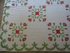 ANTIQUE HANDMADE RED GREEN POMEGRANITE APPLIQUE QUILT CIRCA 1860 | eBay