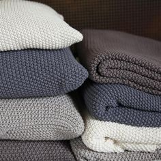 Grey Taupe Moss Stitch Cotton Throws