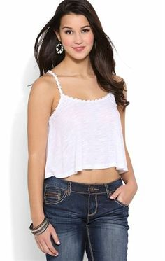 Deb Shops Cropped Fly Away Tank Top with Daisy Trim Straps