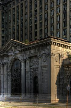 Michigan Central Station, built in 1913 and was the tallest railroad station in the world at 230 ft. The last train to leave, departed the station in 1988.