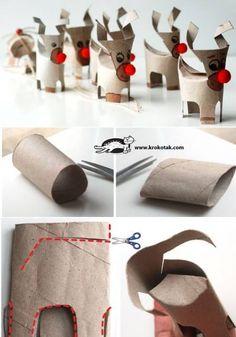 Petit renne en rouleau de papier toilettes