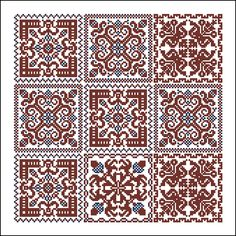 More square tiles - Chart for cross stitch or filet crochet. Mini Cross Stitch, Cross Stitch Borders, Counted Cross Stitch Patterns, Cross Stitch Charts, Cross Stitch Designs, Cross Stitching, Blackwork Patterns, Blackwork Embroidery, Cross Stitch Embroidery