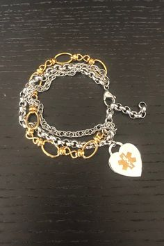 Medical Charm, Gold & Silver Medical ID Bracelet, Adjustable, FREE Custom Engraving for Diabetes, Allergies and more, N-Style ID Intermingle Diabetic Bracelets, Beaded Jewelry, Beaded Bracelets, Medical Id Bracelets, Stainless Steel Jewelry, Charmed, Custom Engraving, Allergies, Surgery