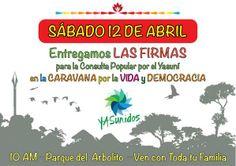 12 abril 2014. Entrega de firmas al Consejo Nacional Electoral. Caravana Popular por el Yasuní. @Yasunidos