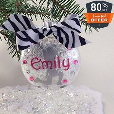 These super cute ornaments coordinate with my GemLights. #Made from sparkling clear acrylic and filled with super sparkly snow, they are finished with a personal...