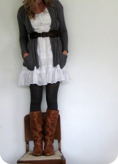 This is a super cute way to wear a white dress when it is still chilly