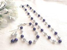 Purple Bridesmaid Jewelry Set, Royal Purple Bridesmaid Jewelry, Purple Pearl Necklace, Wedding Jewelry, Bridesmaid Gift, Custom Colours on Etsy, £13.00