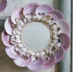 Petite-scallop-shell-mirror- At Seasideinspired.com Beach Ocean Home Decor