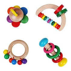 Your child will build hand-eye coordination and develop gross motor skills with these multi-sensory rattles Safe & Durable - Made with Sustainable Wood and Non-Toxic Water Based Paint Using a combination of natural and brightly colored wood and different textures, babies develop sensory perception ...   toys4mykids.com