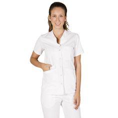 534 - Blusa blanca para mujer Oporto con botones a presión #medico #enfermera #doctor #hospital #batasanidad #ropaestetica