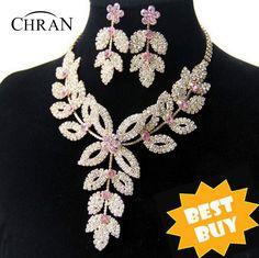Chran Wholesale Gold Plated Flower Wedding Bridal Austrian Crystal Rhinestone Vintage Necklace And Earring Jewelry Set DDJSR1591