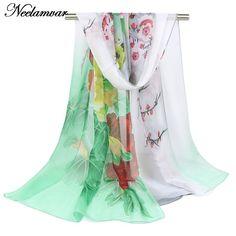 new 2016 spring autumn chiffon georgette silk feeling long scarves shawl women flower printed scarves wholesale