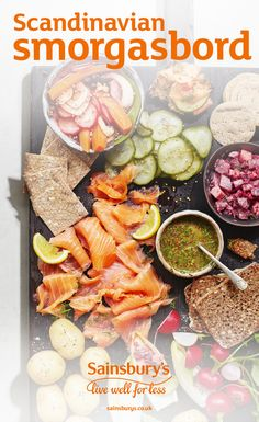 Bring a little bit of Scandinavia to your table this Christmas with a smorgasbord of tasty smoked salmon, gherkins, new potatoes, dill and gin sauce and more. This is perfect for anyone entertaining over the festive period, or Christmas brunch with a twist. Pair with a glass of Sainsbury's Blanc De Noirs Champagne.