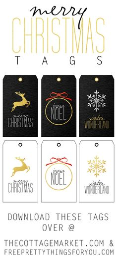 Free Printable Holiday Tags - The Cottage Market #FreePrintables, #FreePrintableGiftTags, #FreePrintableTags