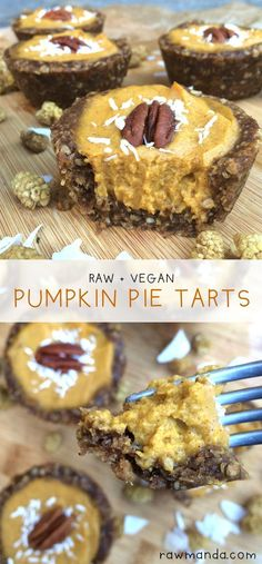 Pumpkin Pie Tarts {Raw, Vegan, Gluten-Free} One of the best things about this pie is that the crust is really hard to mess up. The filling is rich, creamy and decadent but is made from all healthy plant-based ingredients! #plantbased #pumpkin #rawdesserts