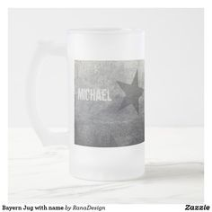 Bayern Jug with name Frosted Glass Beer Mug