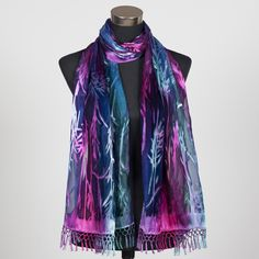 'Magic Forest', fabulous silk scarf hand painted by Marlyse Carroll