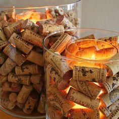 Candle holders. Repurposing wine corks.