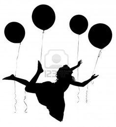 Silhouette der Mädchen in Kleid schwimmt Weg auf Ballons Stockfoto - 10065381