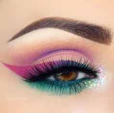 mermaid teal + pink + purple eye makeup with inner-corner glitter @giuliannaa