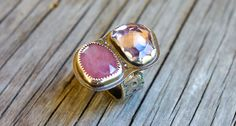 Pink sapphire ring with pink amethyst - two stone ring