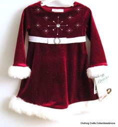 fc422a0388bcb Bonnie Jean Girls Red Santa Christmas Dress 2T Velour Glitter Snowflake Fur  NWT