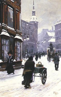 Paul Gustave Fischer  A Street Scene in Winter, Copenhagen  1900