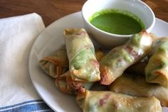 Baked avocado egg rolls with sweet basil and lime dipping sauce