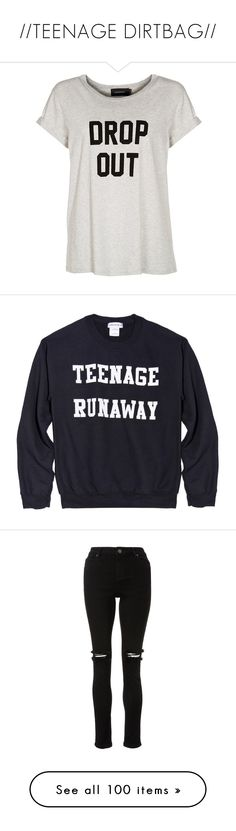 """//TEENAGE DIRTBAG//"" by wallfl0wers ❤ liked on Polyvore featuring 5sos, rippedjeans, bandshirt, poprock, tops, t-shirts, shirts, tees, grey and pattern shirt"