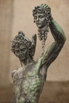 Perseus is an important character in the story of Medusa as he is looked at in high regard in the whole legend. There is also said to be powers in the head of Medusa. Greece Mythology, Greek Mythology Art, Medusa Myth, Medusa Kunst, Medusa Painting, Greek Statues, Greek Art, Baroque, Michael Angelo