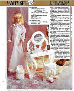 Vanity Set Barbie Furniture Plastic Canvas by grammysyarngarden