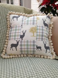 Items similar to Deer and Forest Patchwork Cushion with Pom Pom Trim Grey and Green Country Cottage Fabric on Etsy Patchwork Cushion, Pom Pom Trim, Deer, Sewing Projects, Cushions, Throw Pillows, Fabric, Etsy, Tejido