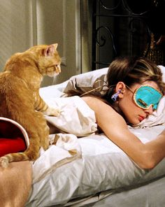 Holly Golightly & Cat. This is my life on Sunday mornings.