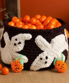Ghostly Candy Bowl Free Crochet Pattern from Red Heart Yarns #Halloween