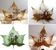 Creative maple leaf art.  So many talented artists with such interesting canvas's
