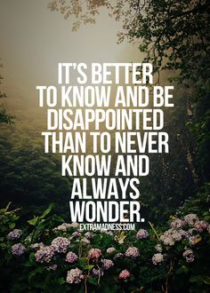 Quote: It's better to know and be disappointed than to never know and always wonder.