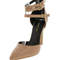 """Meghan Nude Pumps Pattent nude, pointy toe front, adjustable ankle strap.  Heel height approx 5"""" Shoerepublic Shoes Heels"""