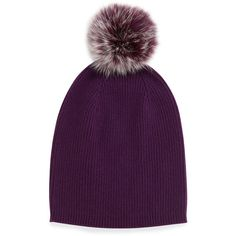 Neiman Marcus Cashmere Slouchy Hat w/Fur Pom Pom ($52) ❤ liked on Polyvore featuring accessories, hats, peacock blue, peacock hat, peacock feather hat, pompom hat, blue hat and slouch hat
