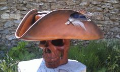 Brown pirate tricorn hat by BalmoraLeathercraft on DeviantArt Pirates, Cuff Bracelets, Deviantart, Brown, Hats, Clothing, Pirate Jewelry, Brown Leather, Jewelry Collection
