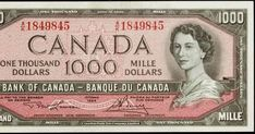 """1954 $1000 Canadian Dollar bill - """"Devil's Head"""" series, Bank of Canada Obverse: Portrait of Her Majesty Queen Elizabeth II, Q... 1000 Dollar Bill, Thousand Dollar Bill, Thousand Dollars, One Dollar, Canadian Coins, Canadian Dollar, Canadian Flags, Canadian Confederation, Banknote"""