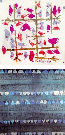 Marco Biassoni, Studio Firma Uccellini e / and Le casette del sogno, Disegni per tessuto / Patterns for texitiles, 1959, courtesy Archivio MITA - Nervi di M.A. Ponis, in comodato presso la Wolfsoniana - Fondazione regionale per la Cultura e lo Spettacolo, Genova.