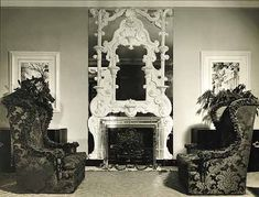 Dorothy Draper. Those chairs! The fireplace! | The lobby of the Hampshire House, completed in 1937.