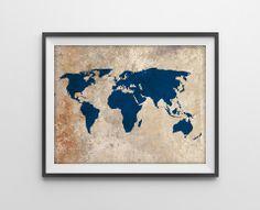 Rustic World Map Art Print - Navy