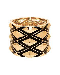 #bracciale grande decorato con elementi geometrici in rilievo oro e nero