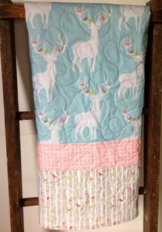 Baby Quilt Gender Neutral Woodland Rustic Cottage by CoolSpool