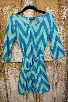 Teal and Blue Chevron Tie Dress – Laney Lu's Boutique
