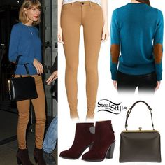 wearing a Demylee Joie Sweater ($284.00), a pair of Joe's Jeans Mid Rise Leggings (sold out) in Caramel, her Rag & Bone Kerr Nubuck Ankle Boots ($550.00) and her Dolce & Gabbana Large Agagta Shoulder Bag (sold out). You can get a similar pair of jeans from Old Navy ($29.00).  http://stealherstyle.net/taylor-swift/page/3/