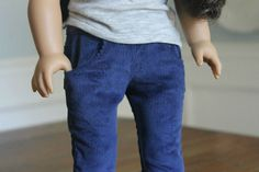 """Corduroy Skinny Jeans in Navy Blue for 18"""" Doll"""